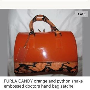 FURLA CANDY orange and python leather satchel bag